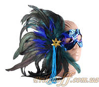 """Карнавальная маска с перьями """"Синяя птица"""""""