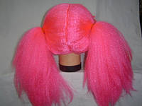 Парик  розовый с  хвостиками