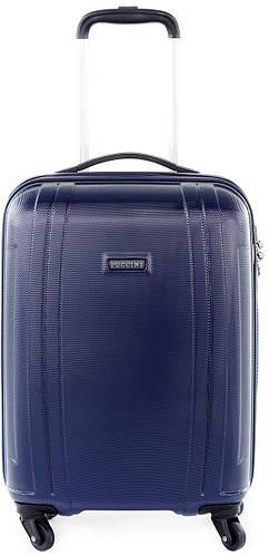 Яркий пластиковый малый чемодан 34 л. на 4-х колесах Puccini PC 015, 8800/4 синий