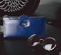 Женский кожаный кошелек синий