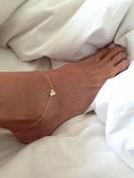 Браслет сердечко для ноги золотистый