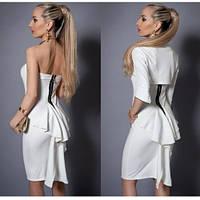 Женский костюм платье с болеро белое
