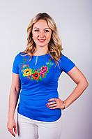 Женская вышитая футболка трикотаж на короткий рукав