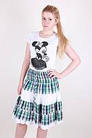 Легкая женская юбка модного кроя в клетку