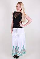 Нарядная юбка в пол с вышивкой большого размера в расцветках