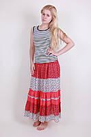 Молодежная летняя юбка  цветочным принтом из натуральной ткани