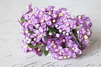 Веточки незабудки 6 шт/уп. светло-фиолетового цвета с листиком и тычинками