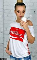 Женская белая футболка с модным принтом впереди рукав короткий х/б с вискозой