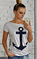 Женская модная футболка короткая с рисунком впереди вискоза