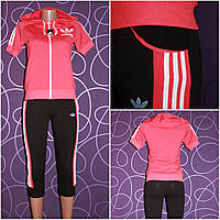 Женский спортивный костюм: бриджи+куртка с короткими рукавами