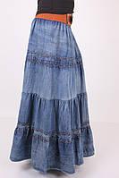 Стильная джинсовая юбка свободного кроя длинная в пол