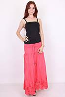 Нарядная молодежная юбка из натуральной ткани с красивой вышивкой внизу