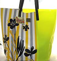 Яркая пляжная сумка кожа + силикон