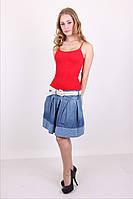 Стильная джинсовая мини юбка с поясом