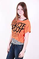 Стильная летняя футболка с надписью из натуральной ткани