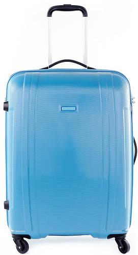 Большой надежный пластиковый чемодан 115 л. Puccini PC 015, 8804/41 голубой