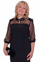 Роскошная женская блуза больших размеров украшена стразами