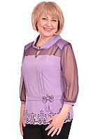 Нарядная блуза  с атласным воротником и украшена стразами