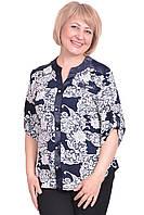 Оригинальная женская рубашка на пуговицах со вставками из атласа