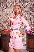 Нарядный женский костюм 2012 Пиджак и юбка Розовый