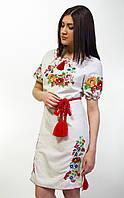 Платье вышитое короткий рукав в украинском стиле