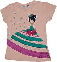Детская турецкая летняя футболка для девочки с принцессой и звездами