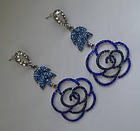 """Вечерние серьги """"Роза"""" с голубыми и синими камнями"""