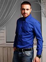 Рубашка мужская хлопок, синяя