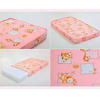 Матрас РОЗОВЫЙ для детской кроватки КПК-LUX кокос-поролон-кокос, 120х60 см. Толщина 7 см.
