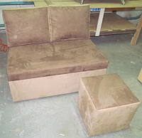 Диван раскладной с пуфиком, мягкая мебель для дома
