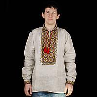 Стильна чоловіча сорочка вишиванка із сірого льону