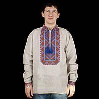 Чоловіча сорочка вишиванка із сірого льону сім кольорів
