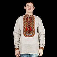 Сіра сорочка вишиванка із льону для чоловіків