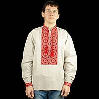 Червона чоловіча сорочка вишиванка із вибіленого льону