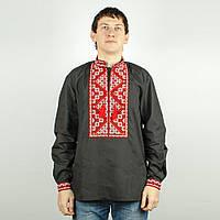 Чорна сорочка вишиванка чоловіча з червоною вишивкою