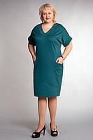 Стильное женское платье с карманами  и коротким рукавом
