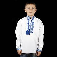 Вишиванка дитяча для хлопчика з синім орнаментом