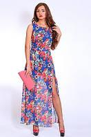 Шикарное вечернее платье сарафан с роскошным цветочным принтом материал шифон