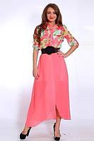 Модное летнее платье  из шифона с красивым цветочным принтом