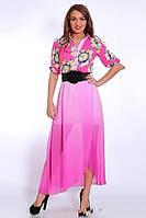 Роскошное платье в пол из королевского шифона  с цветочным принтом