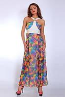 Отличное платье сарафан на лето с цветочным принтом из шифона