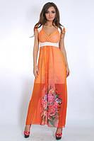 Модный женский сарафан из королевского шифона яркой расцветки