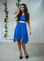 Молодежное летнее платье дизайнерского пошива из шифона