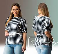 Женская блуза в клетку с поясом Севилья\ черная