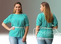 Женская блуза в клетку с поясом Севилья\ ментол