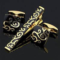Запонки и зажим для галстука Золотой узор в чёрном