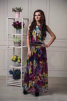 Оригинальный длинный сарафан в пол с ярким цветочным принтом