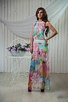 Модный женский сарафан с красивым цветочным принтом из королевского шифона