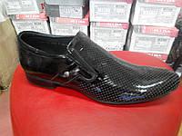 Туфли мужские летние из натуральной лаковой кожи МИДА13713 черн.
