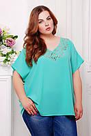 Блуза с перфорацией МИРАНДА бирюзовый, фото 1